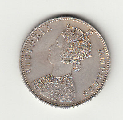1885 British India Queen Victoria One Rupee Silver Coin .with B Incused # Af