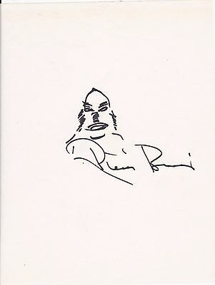 Ricou Browning Creature of the Black Lagoon Autographed Original Sketch W/COA