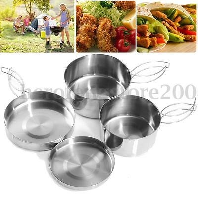 4x Stainless Steel Outdoor Camping Cookware Backpack Cooking Picnic Pot Pan Set