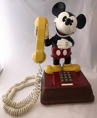 Vintage 1976 Large Disney Mickey Mouse Push Button Touch Tone Phone ATC - Works!
