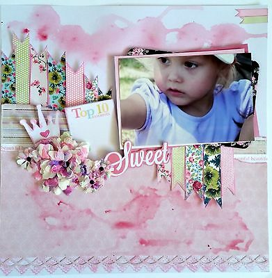 12 x 12 Handmade Scrapbook Page - Sweet  ***Just Add Your Photo***