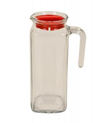 Pasabahce 1Lt Glass Picnic Kitchen Water Jug Pitcher with Lid