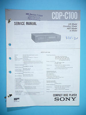 Service Manual instructions for Sony CDP-C100 ,ORIGINAL