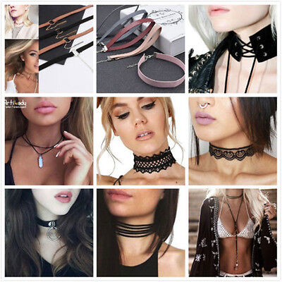Retro Women Lace Up Gothic Punk Choker Vintage Velvet Leather Necklace Jewelry