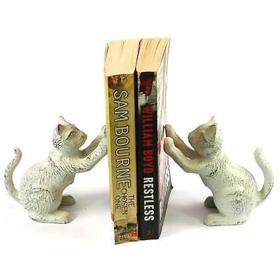 Pair Cat Heavy Cast Iron Bookends Home Ornament Decoration Book Ends 159-341