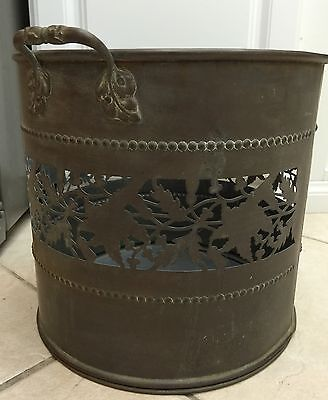 Beautiful Vintage Antique Large Openwork Stamped Copper Planter Un-Polished