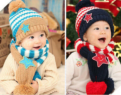 Baby's Hat+Shawl Set Newborn Toddles Fashion Star Striped Warm Wool Cotton Set