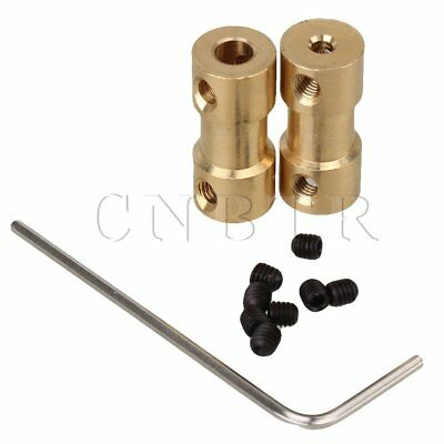 2pcs 2.3 x 4mm Solid Brass Joint Motor Shaft Coupling Adapter Connector Golden