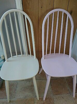 ERCOL? Windsor Quaker Dining chairs x 2 High Back Vintage 1960s