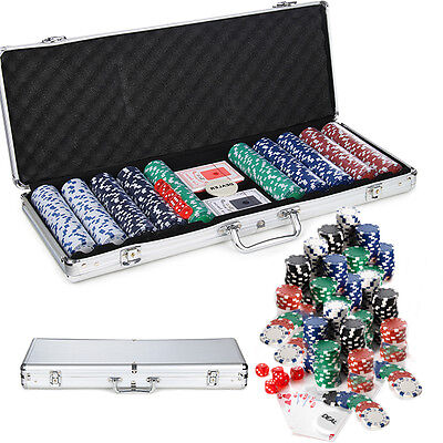 500 Casino Poker Chips Set Texas Hold Em Cards Game In Case Fun Playing