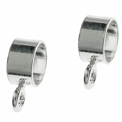 4pcs x Sterling Silver 5mm Cord Pendant Bail Connector for European Charm