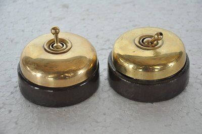 2 Pc Vintage Brass & Ceramic Big Size Victorian Electric Switches, Germany • CAD $76.21