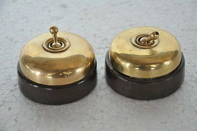 2 Pc Vintage Brass & Ceramic Big Size Victorian Electric Switches, Germany