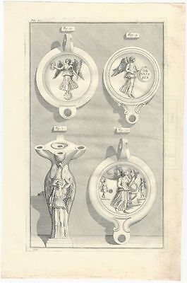 Ancient Roman Lamps Excavated in Rome - A 1728 Engraved Plate by Bellori (f.1-4)