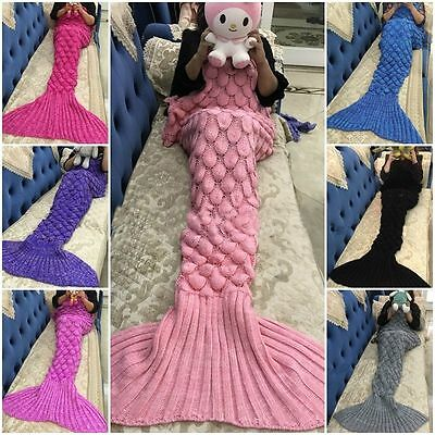 Mermaid Tail Blanket Handmade Knit Crocheted Cocoon Sofa Beach Quilt Lapghan Rug