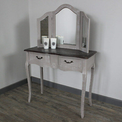Grey Dressing Table console Triple Mirror Shabby French chic bedroom furniture