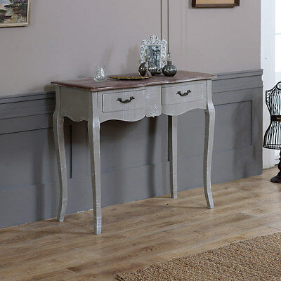 Grey Wooden Dressing Console Table Drawers Shabby French Chic Bedroom Hallway