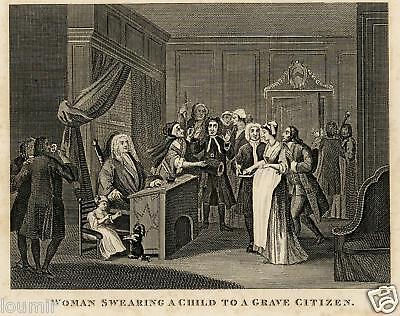 W. HOGARTH = 1840 = SWEARING A CHILD = Antica Stampa = Old ENGRAVING