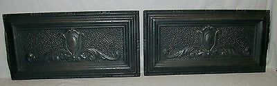"2 Matching Antique Decorative Tin Vent Covers (24"" x 12"") Heater Grate Fronts"