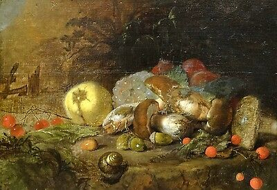 Fine 17th Century Dutch Old Master Mushrooms Snails Strawberries Oil Painting