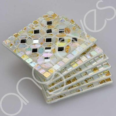 Mosaic Glass Coaster Set of 6 (White) Cup Glass Mat Home Decor