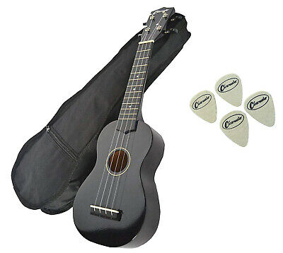Clearwater Soprano Ukulele In Black Free Gig Bag 4 Felt Picks & Free Delivery