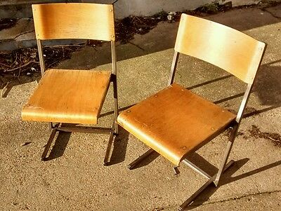 2 x Vintage Factory / School Industrial look Chairs - Wood Metal Pair Cafe Club