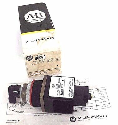 Nib Allen Bradley 800Mr-Nx6 Operator For Selector Switch 800Mrnx6, Ser. A