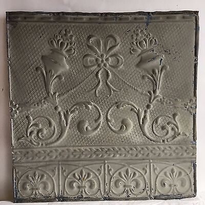 """1890's 24"""" x 24"""" Antique Reclaimed Tin Ceiling Tile Gray Taupe C66 Anniversary"""