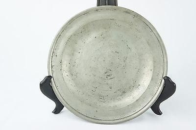 """Exquisite Antique Compton pewter plate ca. 1810, marked, 8"""" [Y8-W6-A9-E9]"""