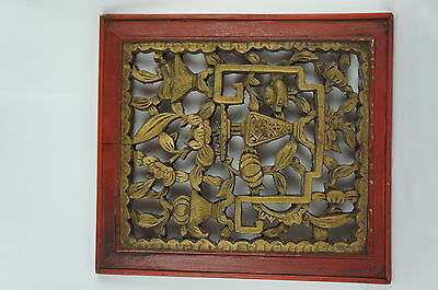 """Superb Antique chinese carved wood panel, 12"""" [Y8-W6-A9-E9]"""