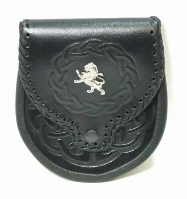 Lion Rampant Embossed Celtic Sporran  with Stitched Flap Free Leather Straps