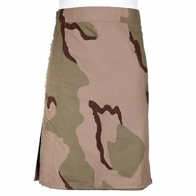 Men's Desert Camo Utility Combat Kilt Punk Goth Style - With Pockets