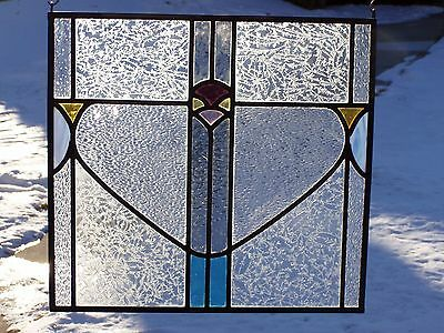Edwardian Flower Leaded Stained Glass Panel  FREE SHIPPING