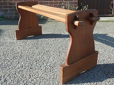 Arts & Crafts antique solid pegged teak slatted hall seat kitchen dining bench