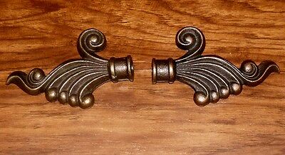 Vtg Cast Iron Bronze French Cottage Scroll Drapery Curtain Rod Endcap Finial Set