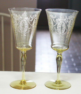 Two Rare Morgantown Sunrise Medallion Yellow Goblets 7 7/8 Inches tall MINT