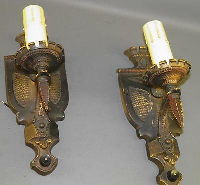 Antique Pair Spanish Revival Gothic Light Sconces Hammered Bronze Cold Painted