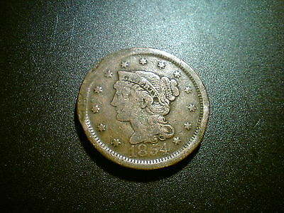1854 United States Us Large Cent Coin. Scarce!