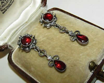 Gorgeous, Antique, 18Ct Gold/sterling Silver Earrings With Royal Garnet Gems
