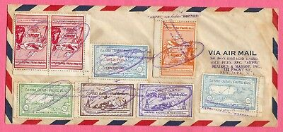 Puerto Rico Semi Official Air Mails Hydroplane Konfresi 1St Flight Cover #2