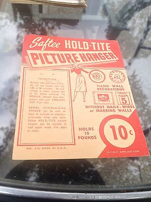 Saftee Hold Tite Picture Hanger Instruction Card