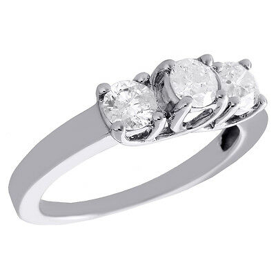 14K White Gold Round Cut Solitaire Diamond 3 Stone Wedding Engagement Ring 1 CT.