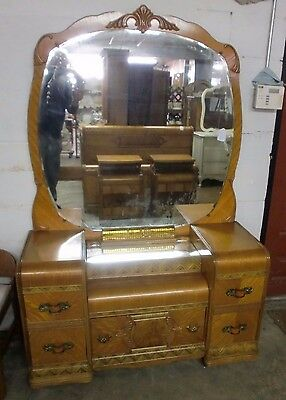 Original Walnut Waterfall Style Vanity Dresser with Large Mirror Old Handles