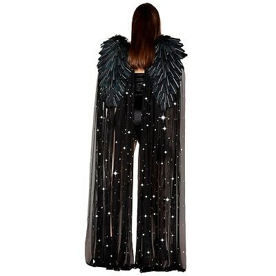 Black Angel Wings with Long Drape Costume Accessory Adult Halloween