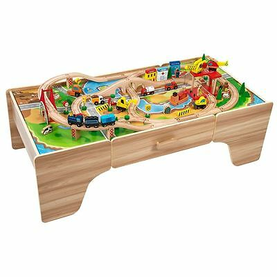 Large Wooden Train Set Play Table - 100 Piece Set - Playset - Storage - Toy Gift