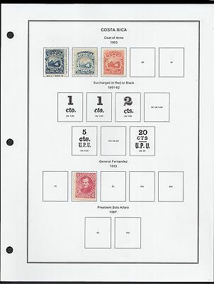 Costa Rica Stampalbums.com Pages to 1975 on High Quality -About 140 Stamps.