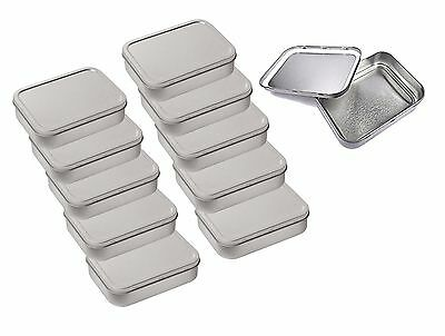 10 x Metal Large 2oz / 50g Tobacco Tin with Lids - Plain Silver / Chrome Colour