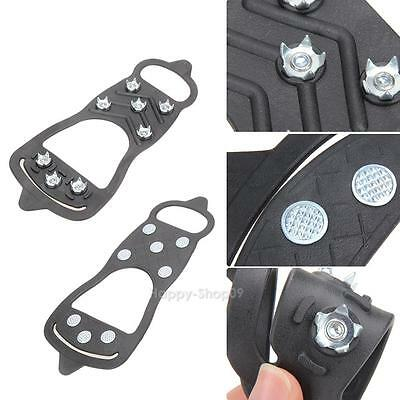 8-Teeth Crampons Shoes Cleats Fishing Snow Anti Slip Ice Gripper Stainless Steel