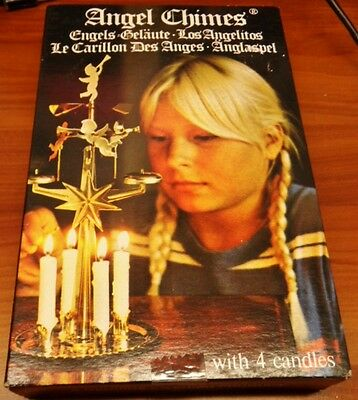 NIB Swedish Brass Angel Chimes Christmas Candle Windmill With 4 Candles SEALED